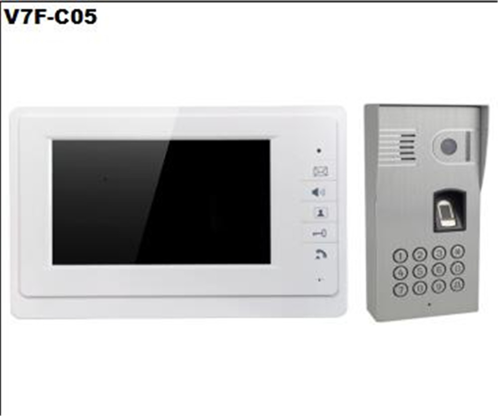 7 Inch TFT  Moitor  Two Way Intercom ID Card Password/Fingerprint Access Control System V70F-C05