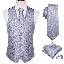 4PC Mens Silk Vest Party Wedding Sliver Paisley Solid Floral Waistcoat Pocket Square Tie Slim Suit Set Barry.Wang BM-2019