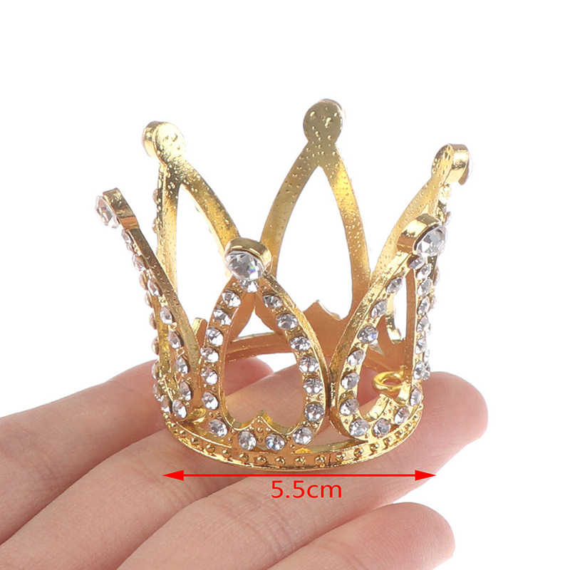 1pc elegant Mini Crown Princess Topper Crystal Pearl Tiara Children Hair Ornaments for Wedding Birthday Party Cake Decor Tools