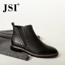 JSI Ankle Women Boots Genuine Leather Round Toe Winter Solid Low Heel Shoes Square Heel Zip Handmade Women Chelsea Boots JC424 цена в Москве и Питере
