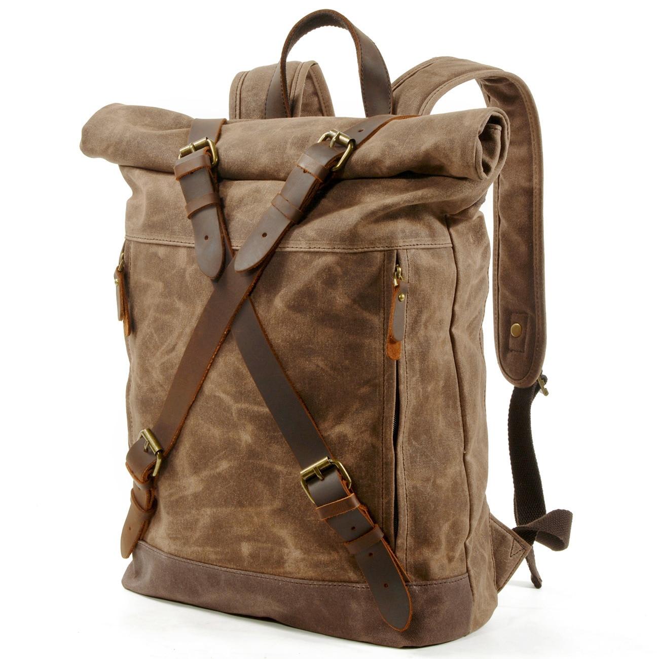 Waxed Canvas Rolltop Backpacks Large Capacity Men Laptop Leather College Travel Vintage Weekend Waterproof Anti-theft Rucksack