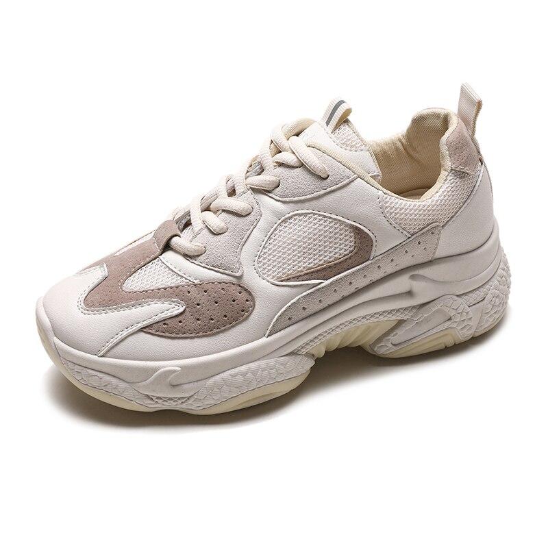 JINJIN-40-Fashion femme haute plate-forme baskets 2019 printemps femme chaussures noir blanc baskets respirant décontracté Mujer taille 35-40