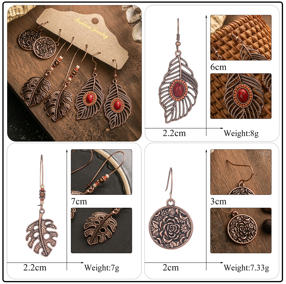 Ethnic Rose Gold Metal Tassel Fringe Womens Earrings Sets Jewelry Bohemia Vintage Round Circle Leaf Butterfly Geometric Drop Earrings Dropshipping Wholesale (4)