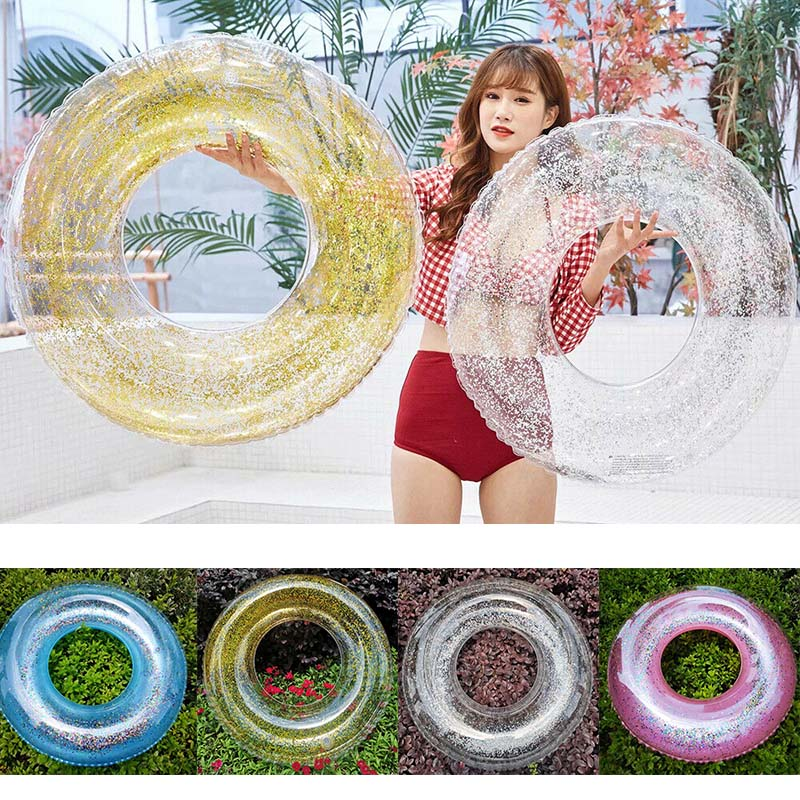 New Transparent Inflatable Swim Tube Glitter Raft Round Swim Ring For Summer Pool XD88