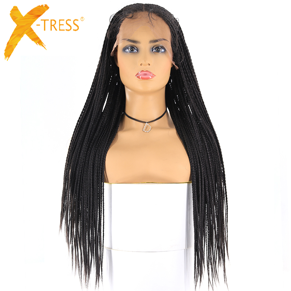 13x6 Lace Front Synthetic Braided Wigs For Women X-TRESS Long Braids African American Hairstyle Lace Frontal Wig Middle Part