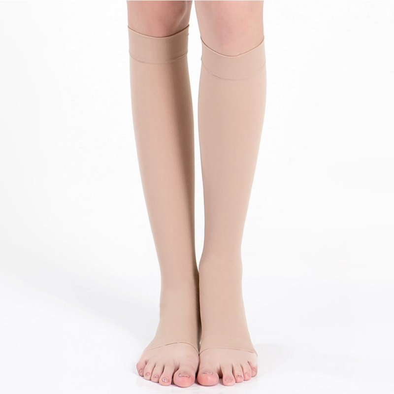 Women'S Compression Stockings Knee High Socks Men Elastic Leg Support Stockings Open Toe 18-21mm Plus Size S-XL