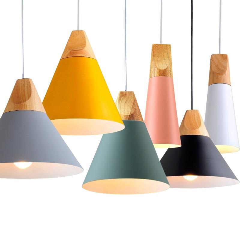 Nordic LED Pendant Lights Dining Room Pendant Lamp Modern Colorful Restaurant Kitchen Coffee Bedroom Loft Hanglamp Wood E27 220V