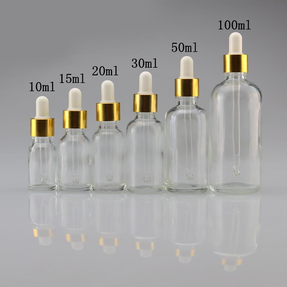 Mini 5ml-100ml Transparent Glass Reagent Liquid Pipette Empty Cosmetic Bottle