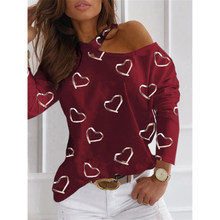 Women Spring Casual Heart Print Tee Shirt Elegant Off Shoulder O Neck Long Sleeve Top Fashion Lady Halter T Shirt Streetwear 3XL