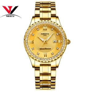 Image 2 - 2020NIBOSI sevgili saati Relogio Feminino kadınlar saatler kuvars erkek saatler Top marka lüks sevgilisi saatler altın kuvars kol