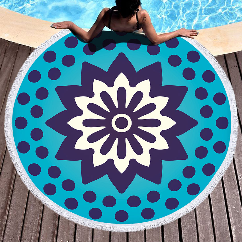 Geometric Round Large Beach Towel Tassels Bohemia microfiber towel Bath towels For Adults Picnic Yoga Mat Blanket Cover Up