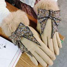 Luksusowe marki rękawiczki zimowe rękawiczki damskie kaszmirowe rękawiczki damskie Bling Rhinestone Bow ciepła wełna rękawiczki damskie rękawiczki do jazdy tanie tanio Dla dorosłych CN (pochodzenie) WOMEN Z wełny Stałe Elbow Moda TYJ0868