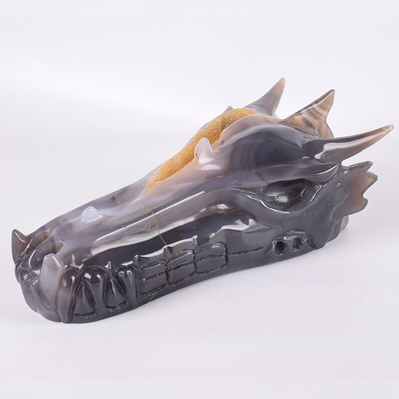 9.5 pouces cristal naturel Agate trou Dragon crâne 2095 g tête Figurine crânes sculpté Statue guérison sculpture pierre Feng Shui décor