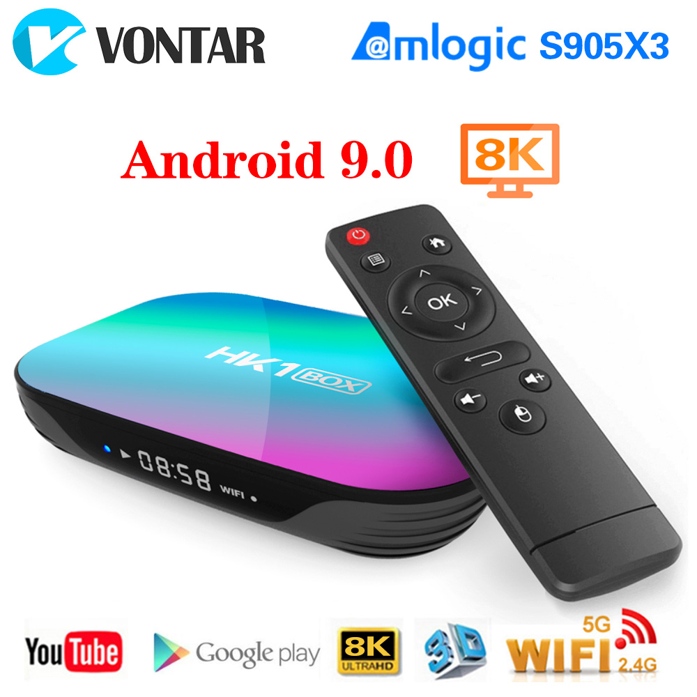 2020 HK1 BOX 8K Android 9.0 Amlogic S905X3 4GB 64GB TV Box Set Top Box Dual Wifi 4K Youtube Netflix Smart TV Box 4G 32G HK1 Max