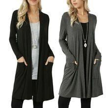 Womens Open Front Fly Away Sweater Cardigan Long Sleeve With Pockets Loose Drape pockets knit open front cardigan