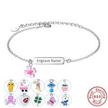 ELESHE-pulsera de plata de ley 925 con nombre de Grabado libre, brazalete personalizado para niños y niñas