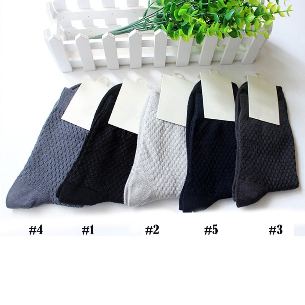 High Quality Bamboo Men's Socks Casual Breathable Business Crew Sock For Men Cotton Autumn Winter Black White Brand Male Socks