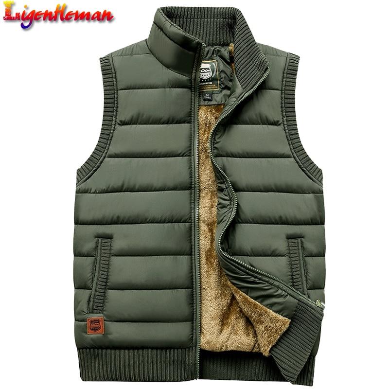 Casual Men Vest Coat Fleece Army Green Waistcoat Large Size 5XL Newest 2019 Autumn Winter Men Coat Warm Sleeveless Jacket