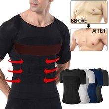 Erkekler zayıflama vücut şekillendirici yelek üstleri bel korse azaltmak karın mide Shapewear duruş düzeltici T-shirt sıkı göğüs şekillendirici