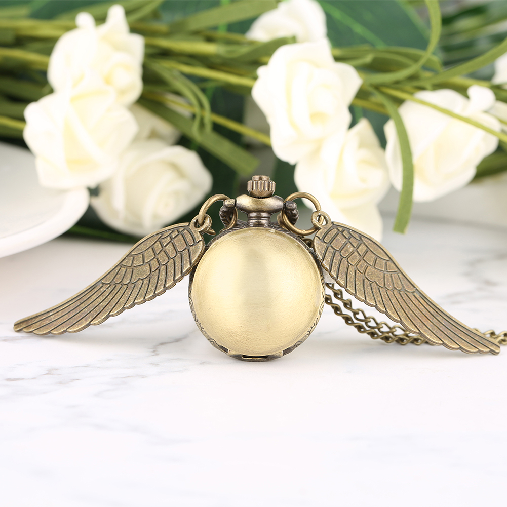 Vintage Small Quartz Pocket Watches Luxury Wing Design Steampunk Fob Watches Pendant Necklace Chain Men Women's Gifts Reloj