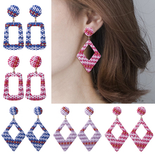Korean Handmade Wooden Drop Earrings For Women Bohemian Geometric Straw Rattan Knit Hanging Dangle Earring Fashion Jewelry 2019