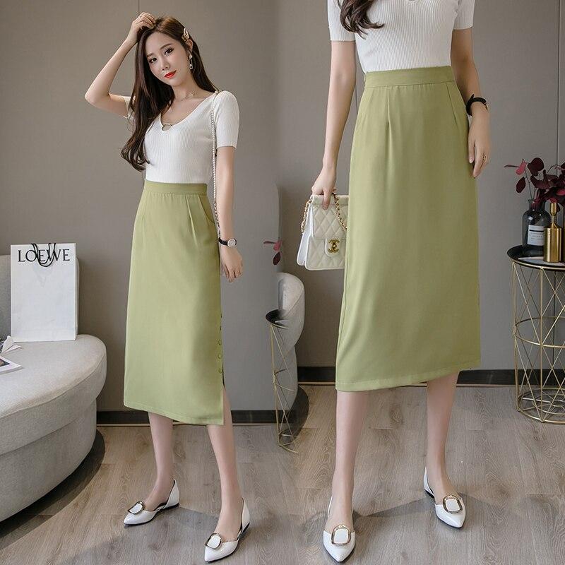 Women Skirt 2020 Spring New Skirt Fashion High Waist A-line Skirt Temperament Hip Skirt Female Split Medium Long Skirt