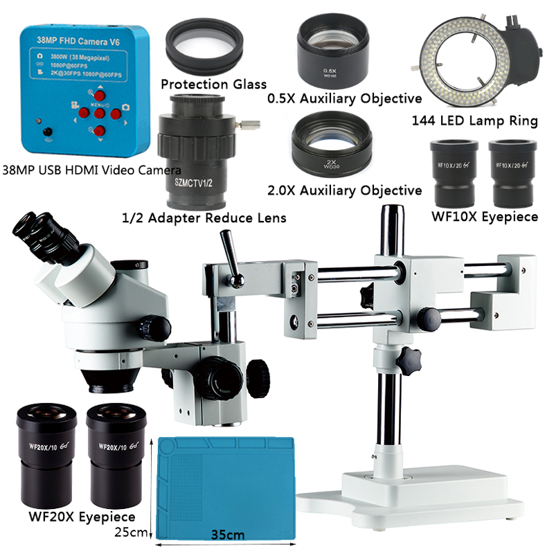 3 5X-90X Double Boom Stand Zoom Simul Focal Trinocular Stereo Microscope 38MP 2K HDMI USB Industrial Camera For Phone PCB Repair
