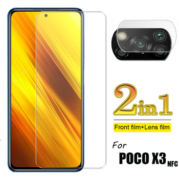 2-in-1 Glass for Poco X3 Front Screen & Camera Lens Tempered Glass Screen Protectors for Xiaomi Poco X3 NFC Screen Protector