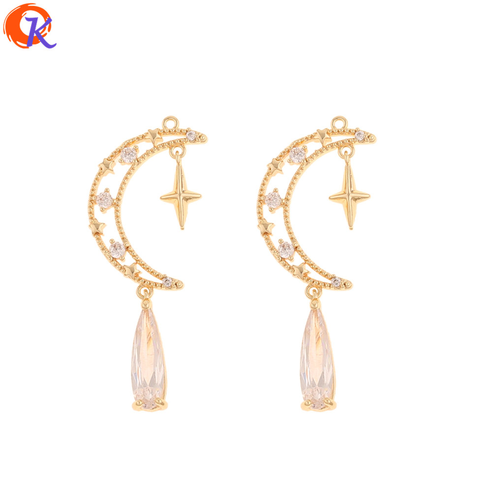Cordial Design 10Pcs 14*37MM Jewelry Accessories/DIY Making/Genuine Gold Plating/Moon Shape/Hand Made/Earring Findings/CZ Charms