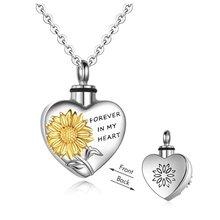 Подсолнечника сердце Форма ожерелье с кремационной урной для