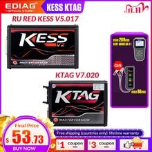 على الانترنت الاتحاد الأوروبي الأحمر KESS V2 5.017 كامل ماستر OBD2 مدير ضبط KESS V5.017 4 LED KTAG V7.020
