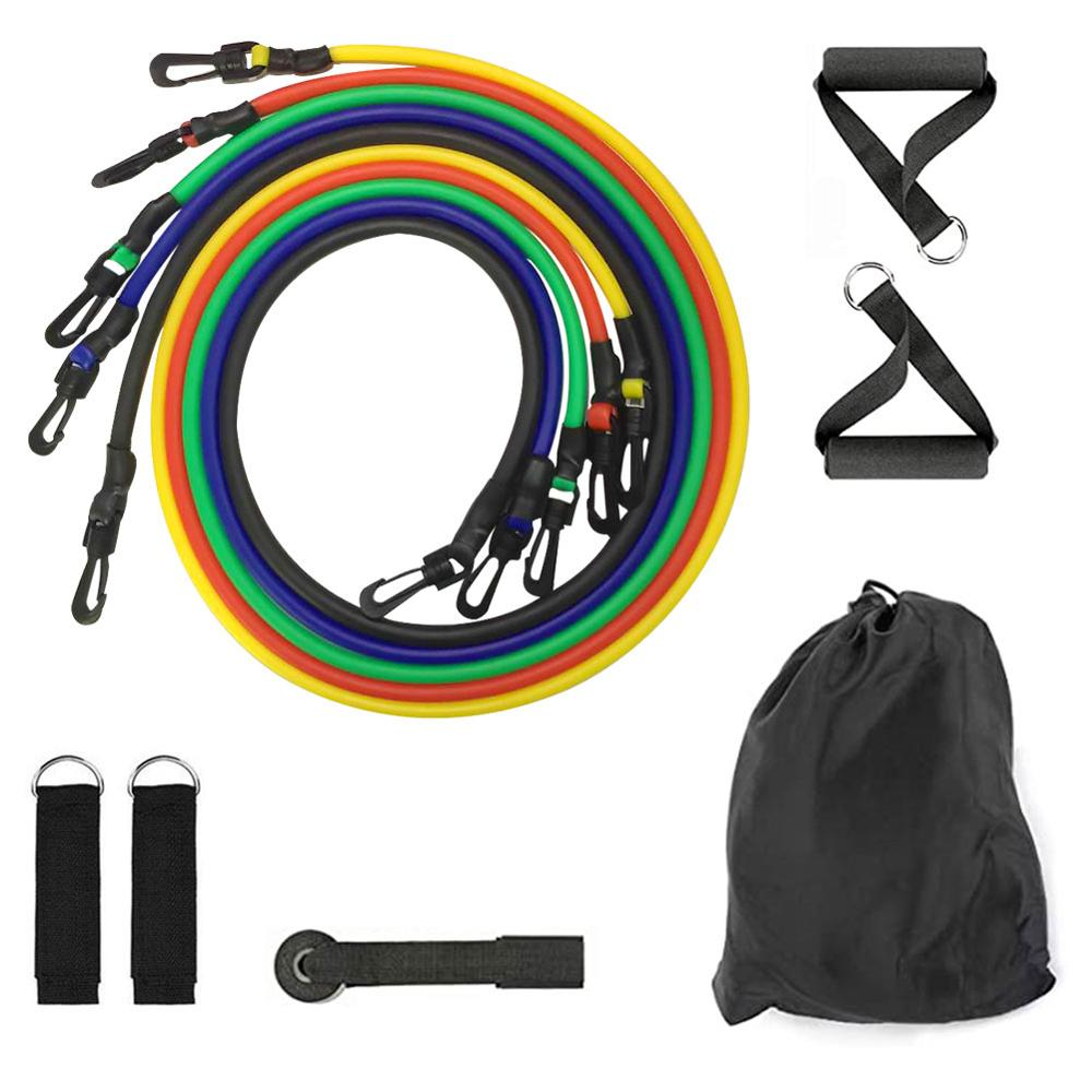Upgraded Plastic Buckle Fitness Resistance Bands Workout Exercise Resistance Band Set With Extra Door Anchor