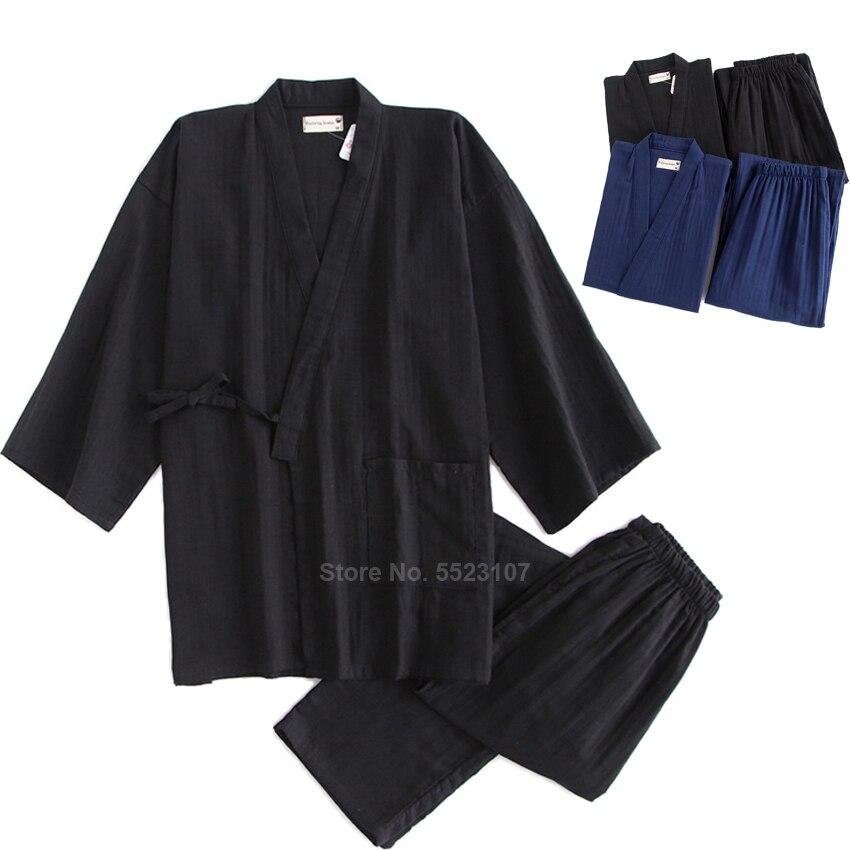 2020 Kimono Pajamas Set For Samurai Men Cotton Traditional Japanese Top Trousers Pure Color Casual Breathable Yukata Sleepwear