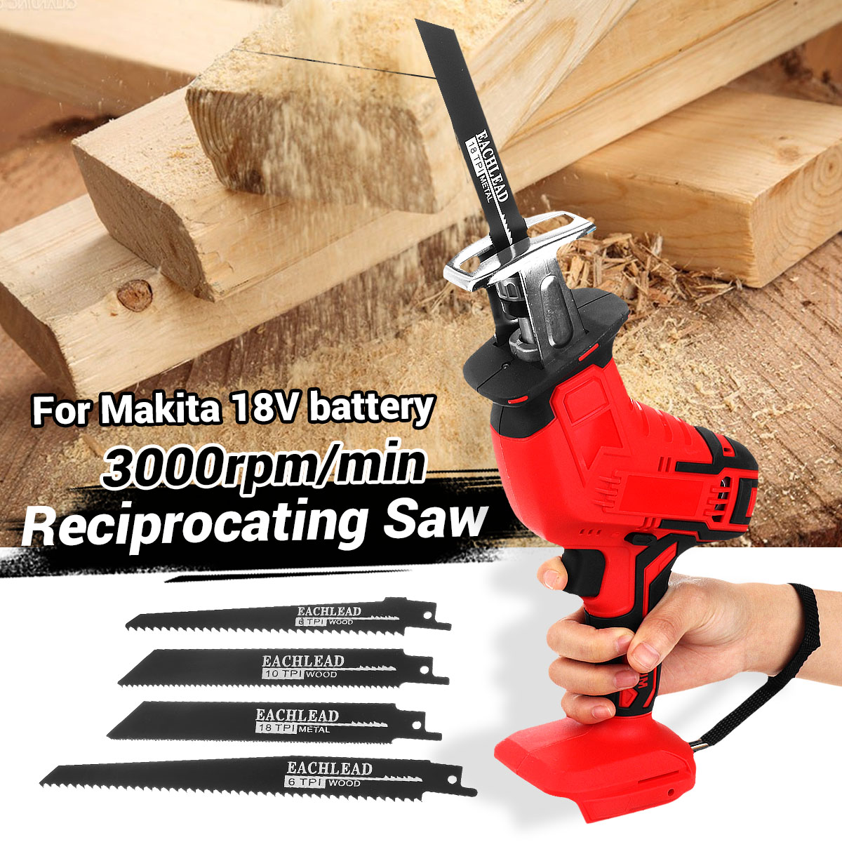 Cordless Mini Electric Saw Reciprocating Saw Body Replacement Woodworking Cutter Tool With 4 Saw Blades For 18V Makita Battery