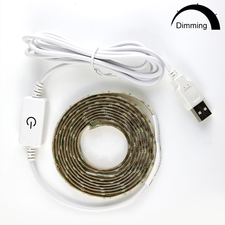 Dimmable 5V USB Power LED Light Strip Warm White  2835 1M/2M/3M Closet Kitchen LED Light Lamp Diode 60leds/M Tape    D4