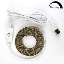 Dimmable 5V USB Power LED light Strip Warm white  2835 1M/2M/3M Closet Kitchen Light Lamp Diode 60leds/M Tape D4