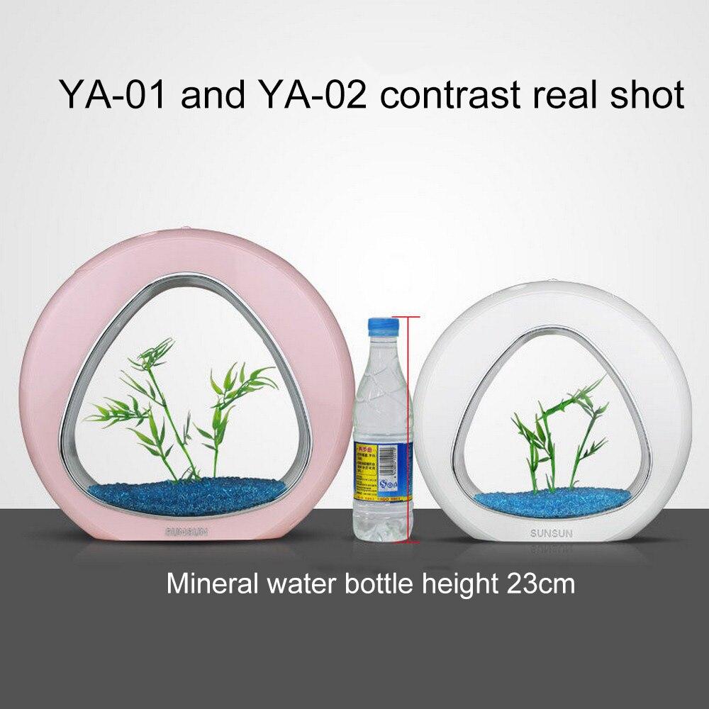 Mini acrylique Nano Table Top écologie poisson réservoir intégration filtre lumière LED pour bêta poissons bureau Aquarium 110 V-240 V