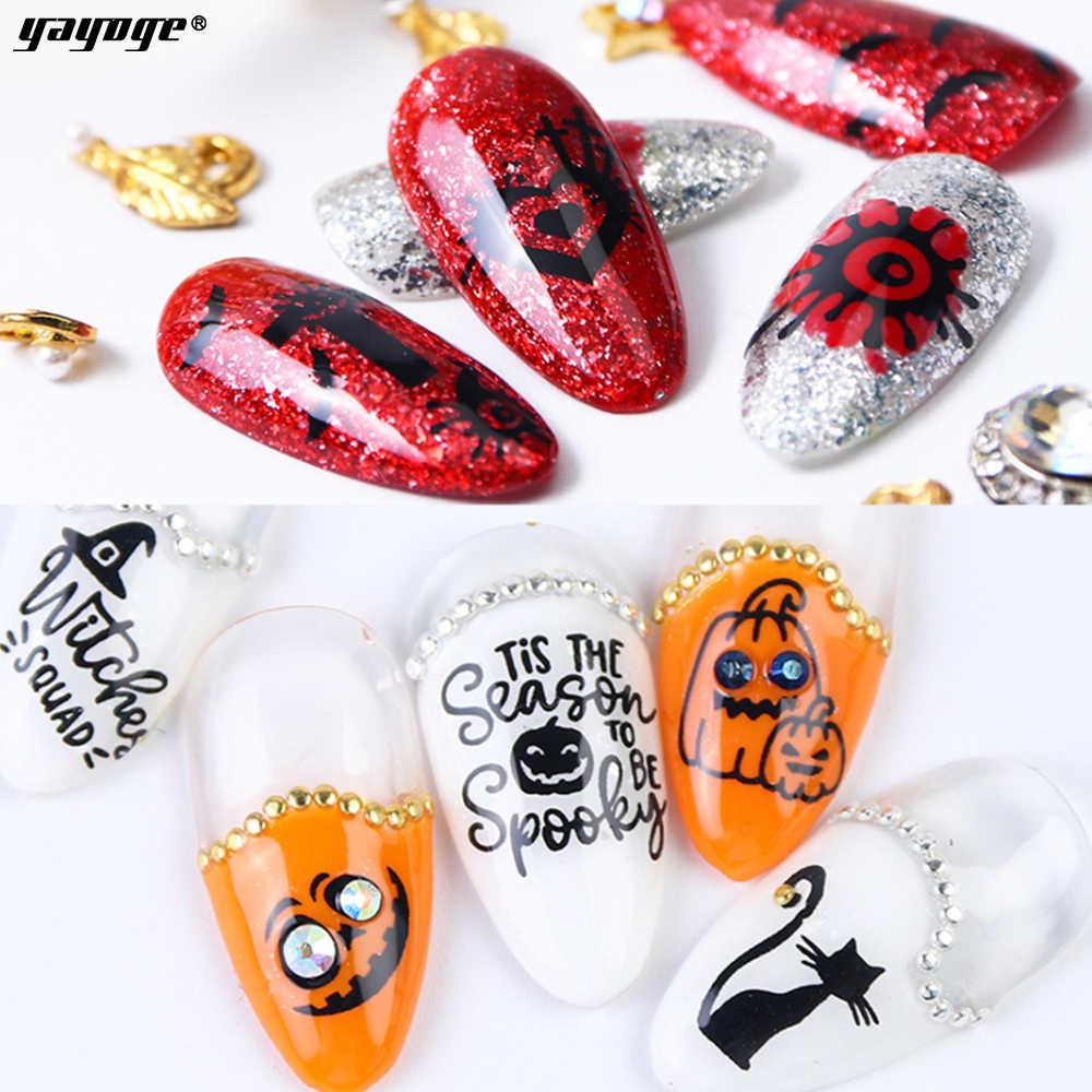 YAYOGE 1 hoja de pegatinas de uñas Oro Negro Halloween diseño 3D hojas deslizantes para decoración de uñas manicura agua calcomanía consejos