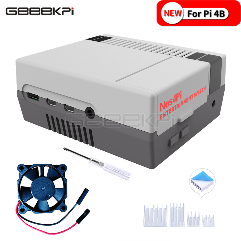 GeeekPi NES4Pi NES Style Case Kit ABS Functional Cooling Fan Heatsinks Screwdrivers Only For Raspberry Pi 4 B ( 4 Model B )
