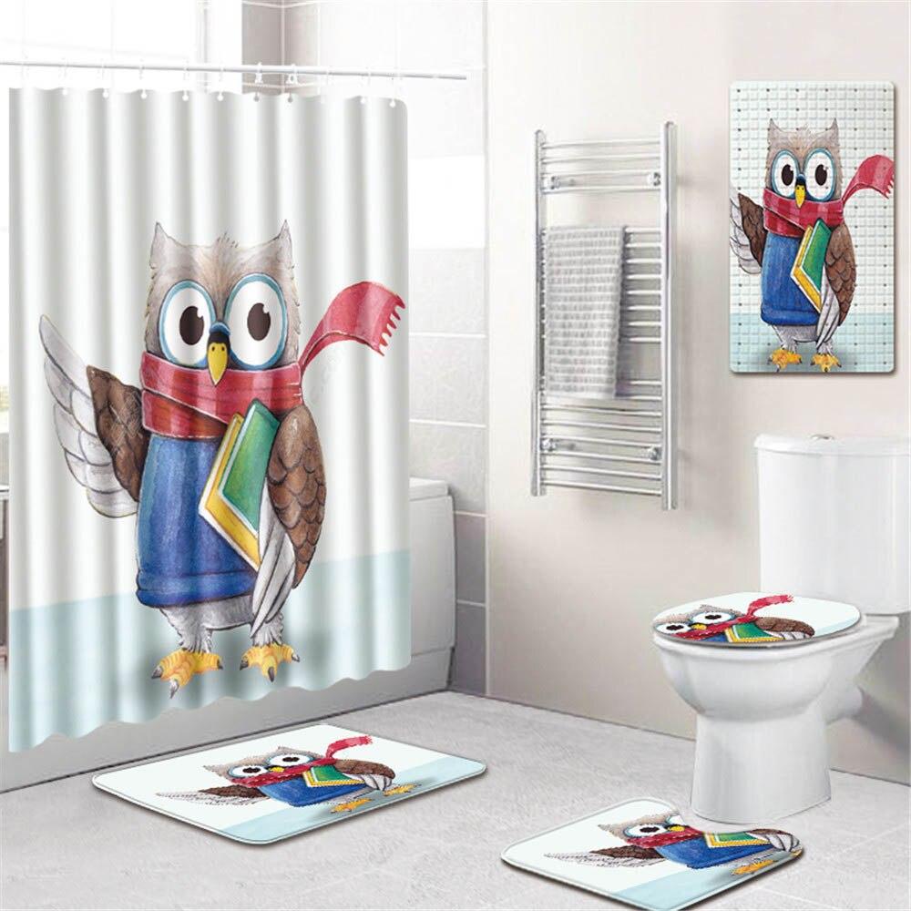 3D Животный Единорог принт ванная комната занавеска для душа водонепроницаемый полиэстер ПВХ нескользящий коврик для унитаза коврик для ва... - 2
