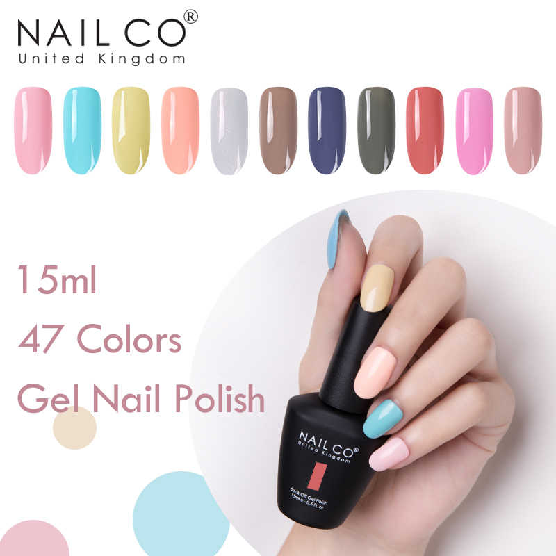 NAILCO 47 colores Gel esmalte de uñas brillo LED UV Gel barniz uñas arte Primer 15ml UV Semi permanente gelpolaco esmalte Gel laca