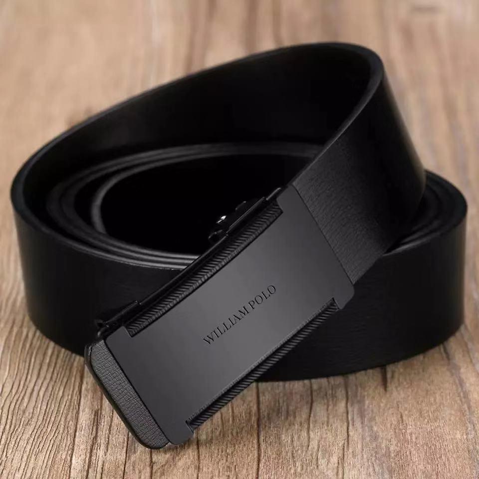 Mężczyźni Slim cienki pasek automatyczna klamra metalowa moda prawdziwa skóra mężczyzna Cowskin Belt Business przypadkowy prezent dla męża