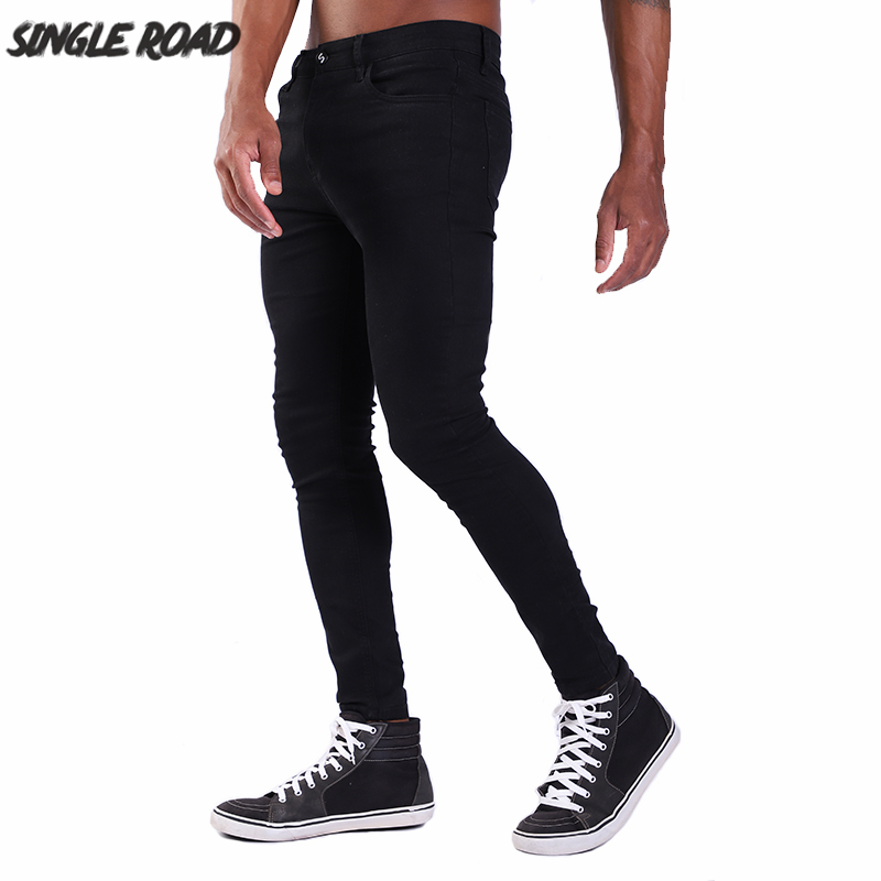 Single Road Super Skinny Jeans Men 2019 Fashion Denim Pants Man Elastic Waist Black Mens Brand Slim Stretch Jeans Skinny Male