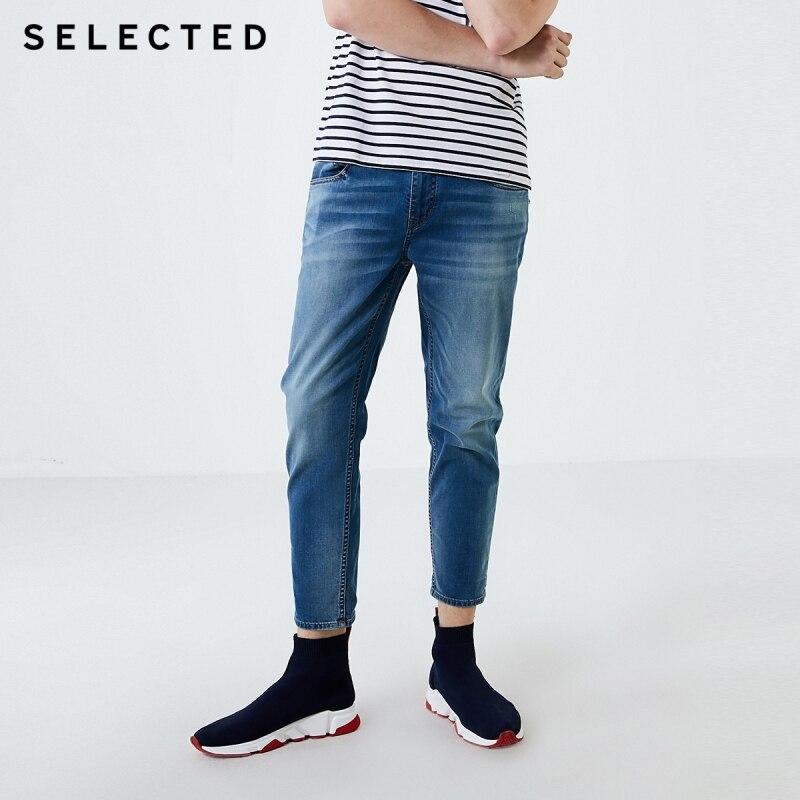 SELECTED Men's Autumn Slim Fit Dnim Pants Cotton-rich Lycra Casual Crop Jeans C|419332519