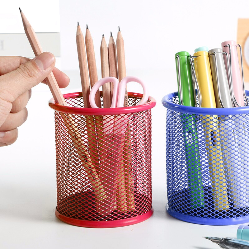 Office Organizer Round Cosmetic Metal Stand Mesh Style Pen Pencil Pot Holder Stationery Container Stationery Container Organizer