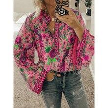 2021 bohemia blusa senhoras botão de moda camisa manga longa impressão pavão blusas soltas casual topo nova blusa floral streetwears