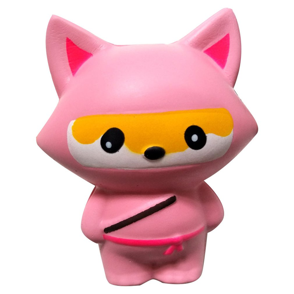 Mini Simulated Ninja Fox PU Doll Slow Rebound Decompression Toy Foam Relaxed Toy Decoration Soft Toy Cake Sample Model