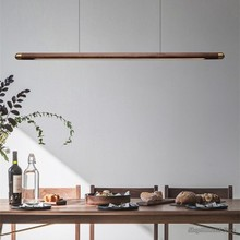 Black Walnut Dining Table Wood Pendant Lights Designer Simplicity Strip Led Hanging Lamps Home Decor Dining Room Light Fixtures
