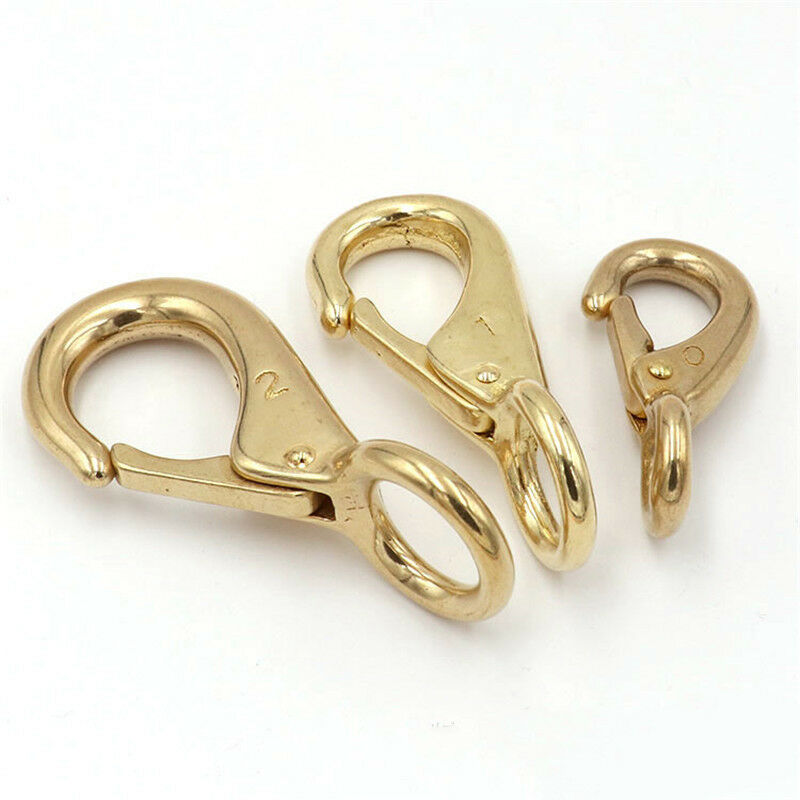 1 x Solid brass snap hook fixed eye trigger clasp for leather craft bag strap belt horse gear marine pet rope leashes clips