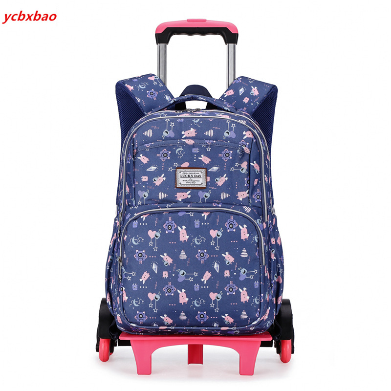 Kid Girl/'s Backpack  Schoolbag 6 Wheels Student/'s Trolley Suitcase Luggage New